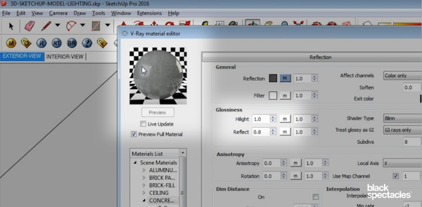 Reflection Glossiness Settings in Vray 3 2 for SketchUp