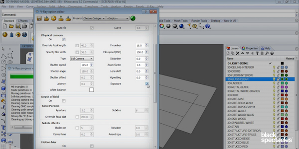 Camera and Environment Options in Rhino 5 for Vray 3 2