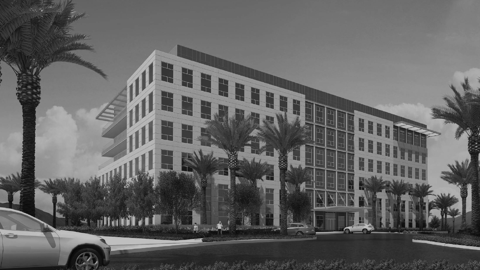 stylized, B&W photo of EV&A ARCHITECTS - TWO SUMMERLIN OFFICE BUILDING