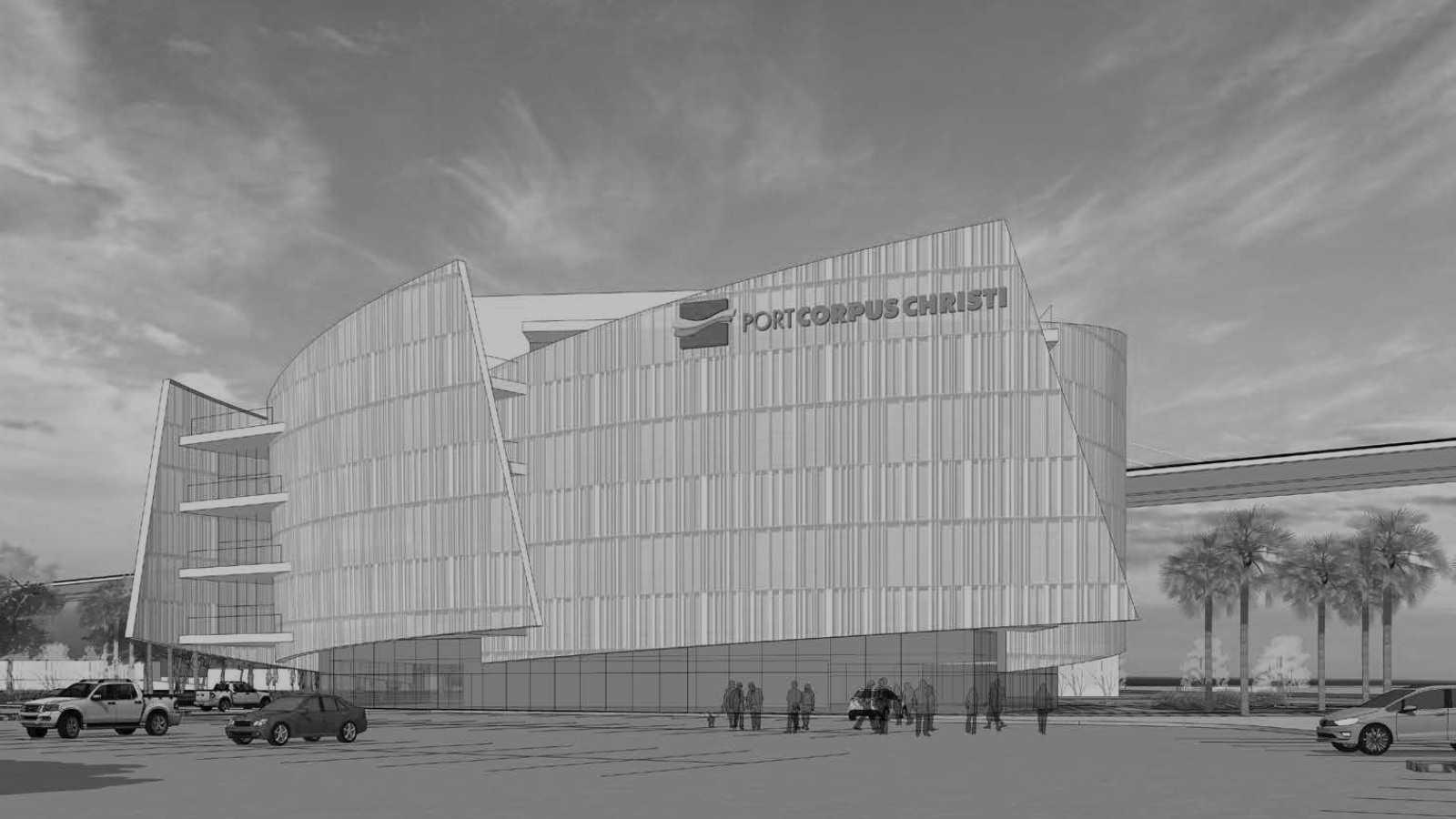 stylized, B&W photo of GENSLER - ADMINISTRATION OFFICE FOR THE PORT OF CORPUS CHRISTI