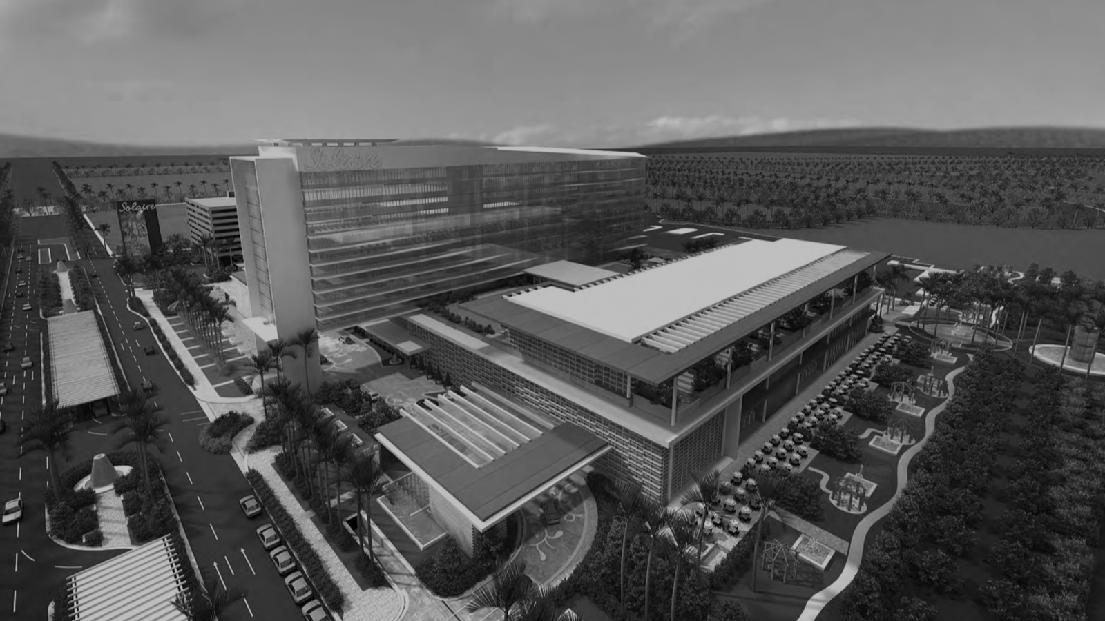 stylized, B&W photo of STEELMAN PARTNERS - SOLAIRE RESORT AND CASINO