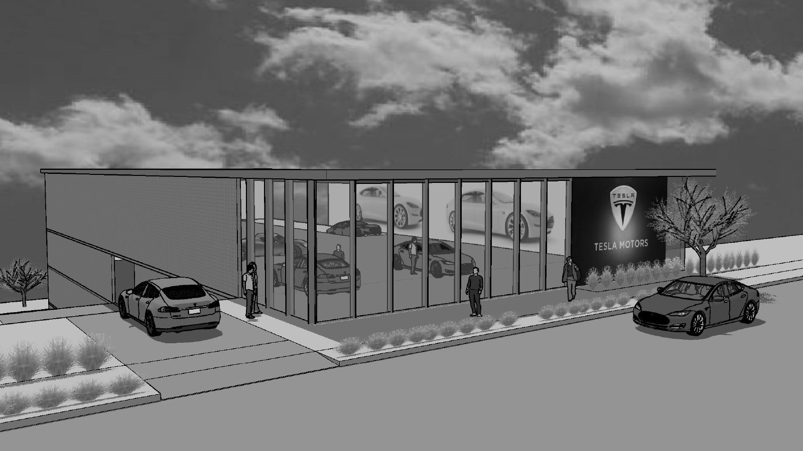 stylized, B&W photo of CONNECT ARCHITECTURE - TESLA SHOWROOM