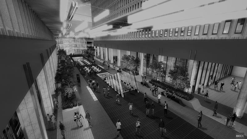 stylized, B&W photo of The Beck Group - Peachtree Center