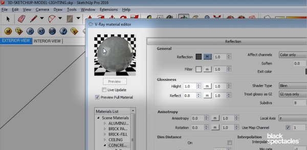 Reflection Glossiness Settings in Vray 3 2 for SketchUp & Rhino 5